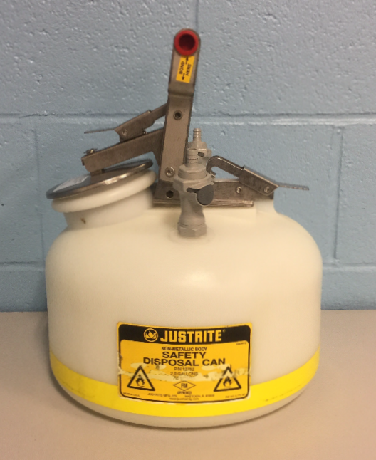 Justrite 2 Gallon Quick-Disconnect Disposal Safety Can P/N 12752 Image