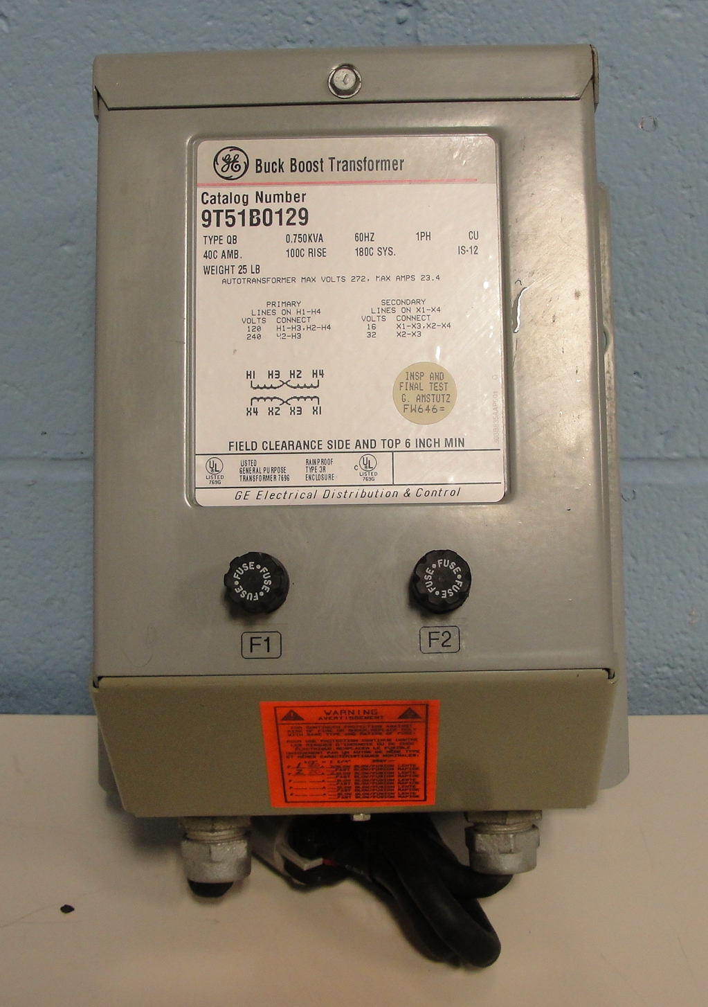 refurbished general electric 9t51b0129 buck boost