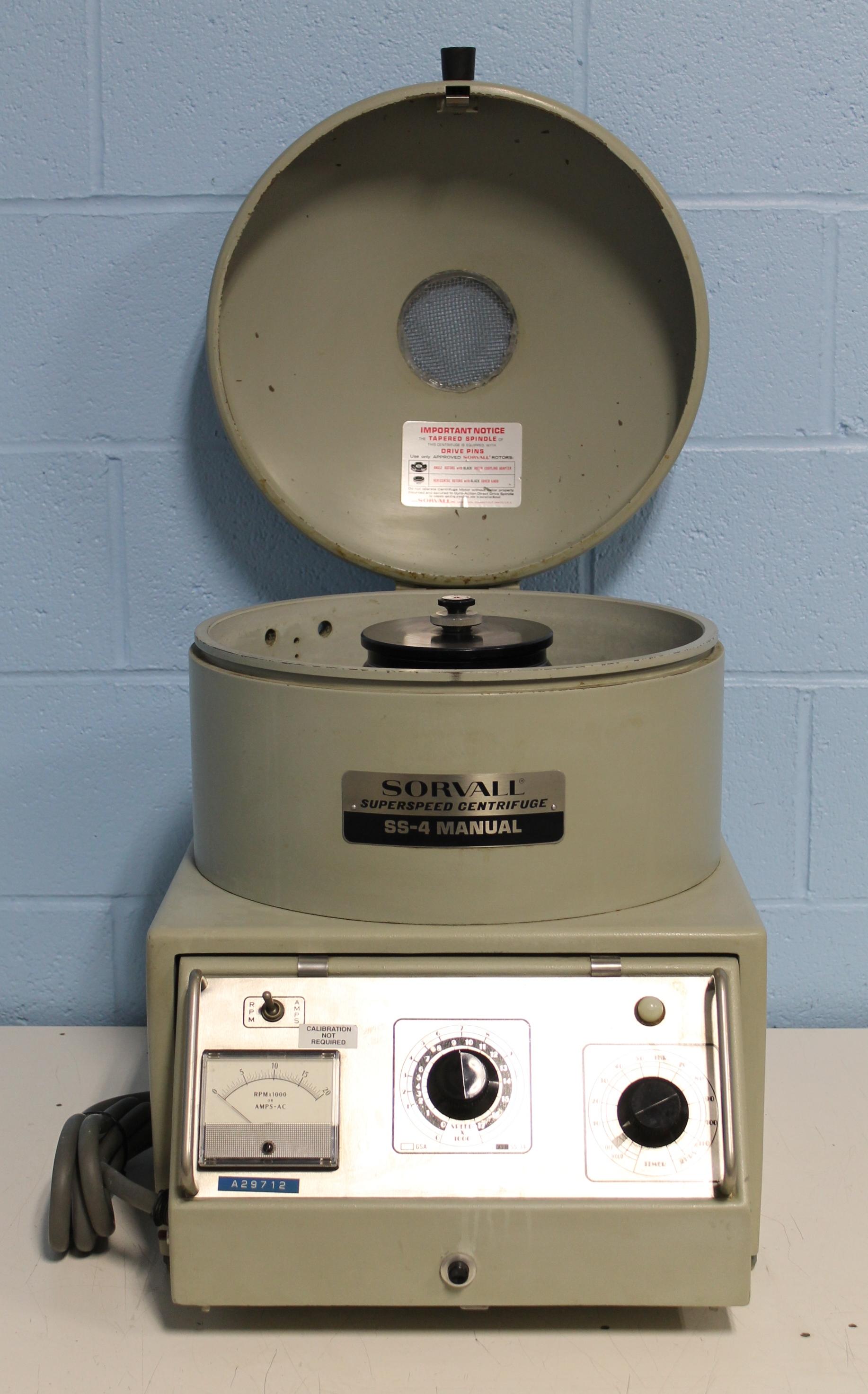 Sorvall Superspeed Centrifuge Model SS-4 Manual Image