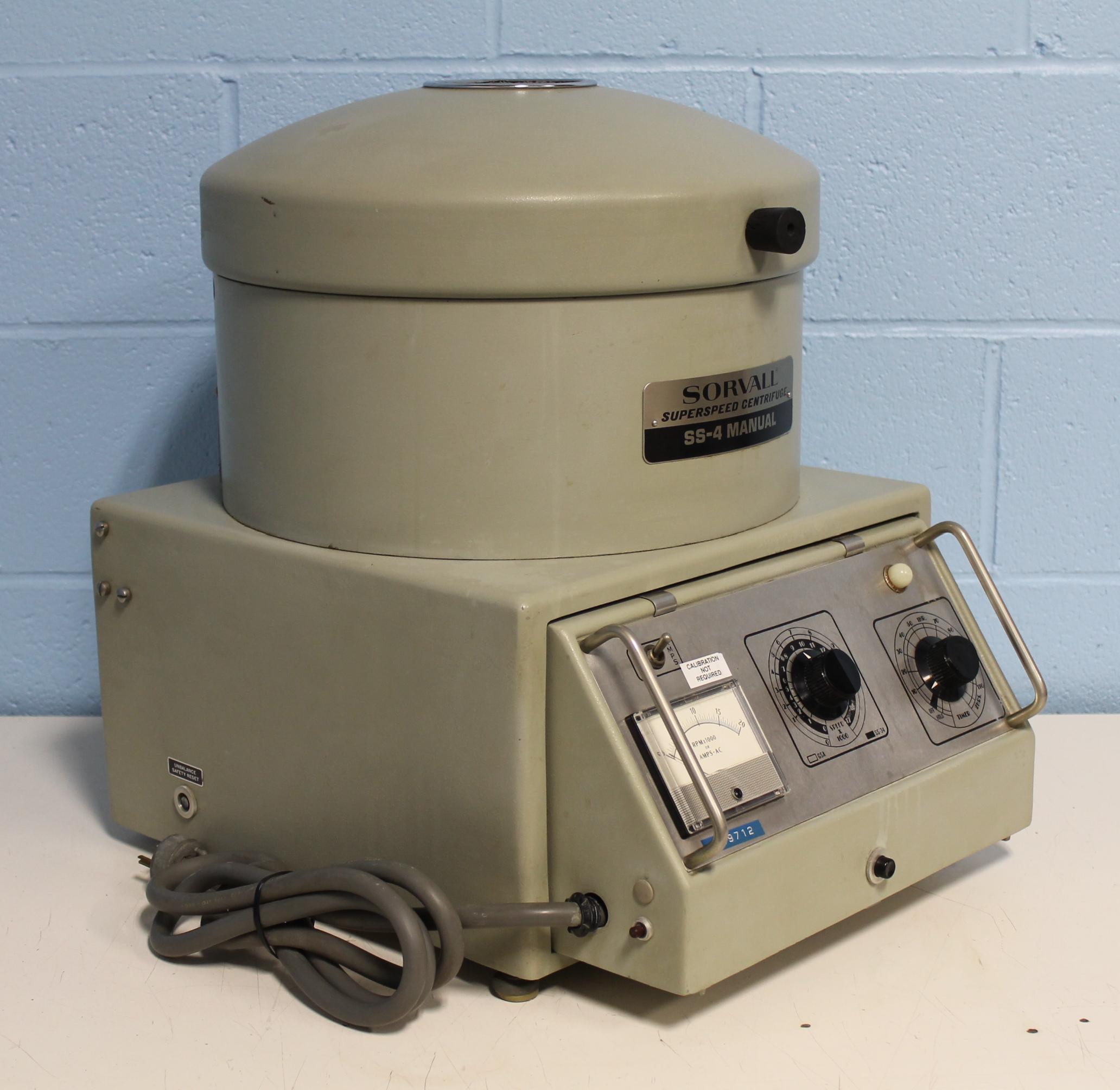 Sorvall Superspeed Centrifuge Model SS-4 Manual Image ...