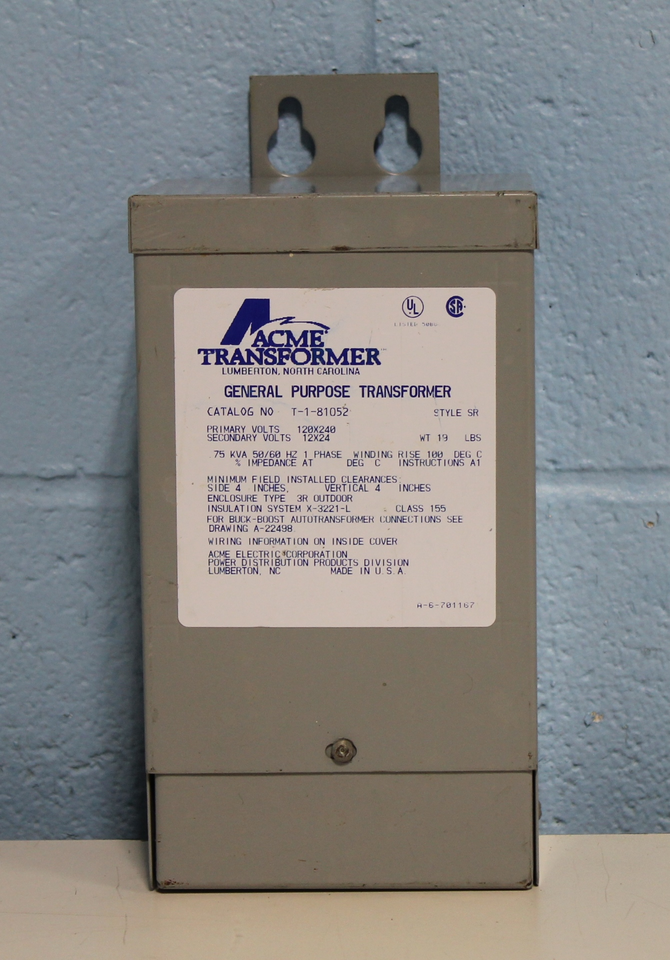 Refurbished Acme T181052 BuckBoost Transformer