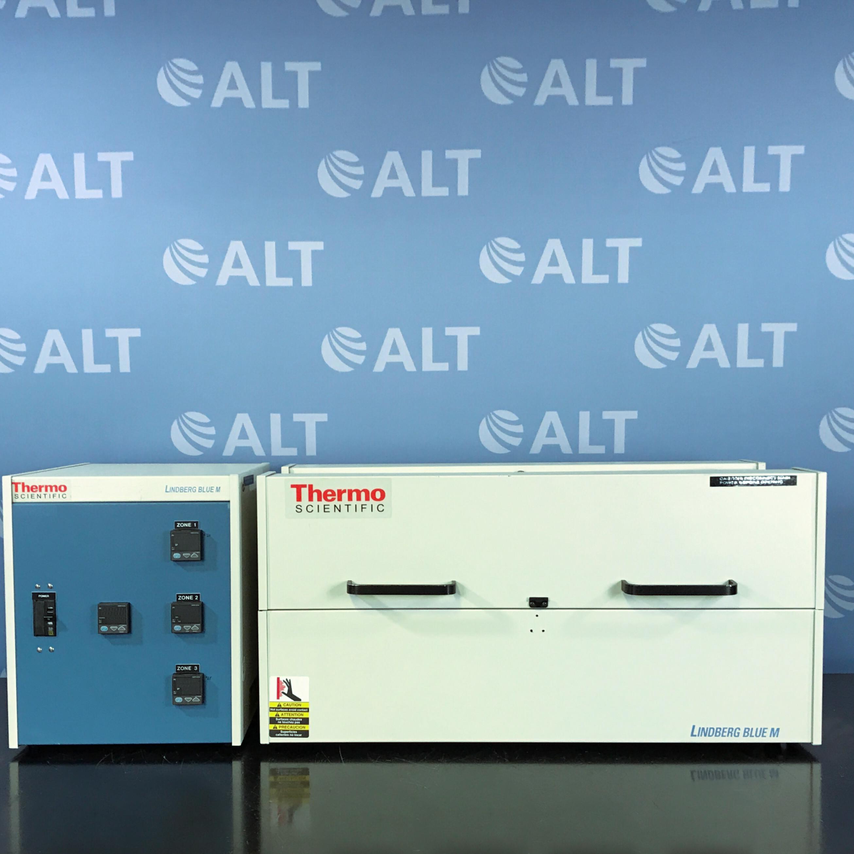 Thermo Scientific Lindberg/Blue M 1200°C Split-Hinge Tube Furnace Model HTFC With Lindberg/Blue M Controller Model CC58434PBCOMC-1 Image
