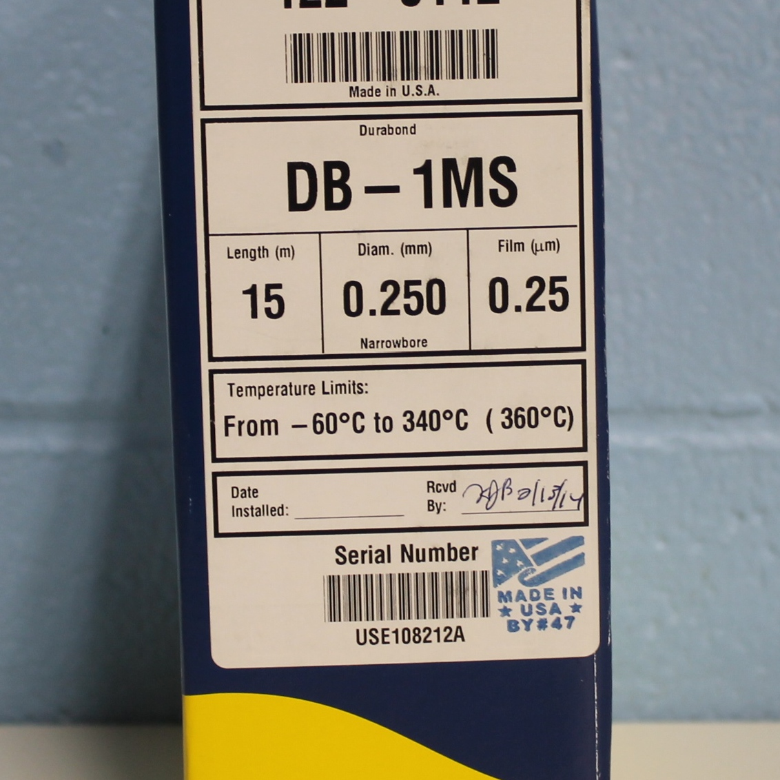 Agilent Technologies J&W DB-1ms GC Column, 15 m, 0.25 mm, 0.25 m, 7 inch cage Image