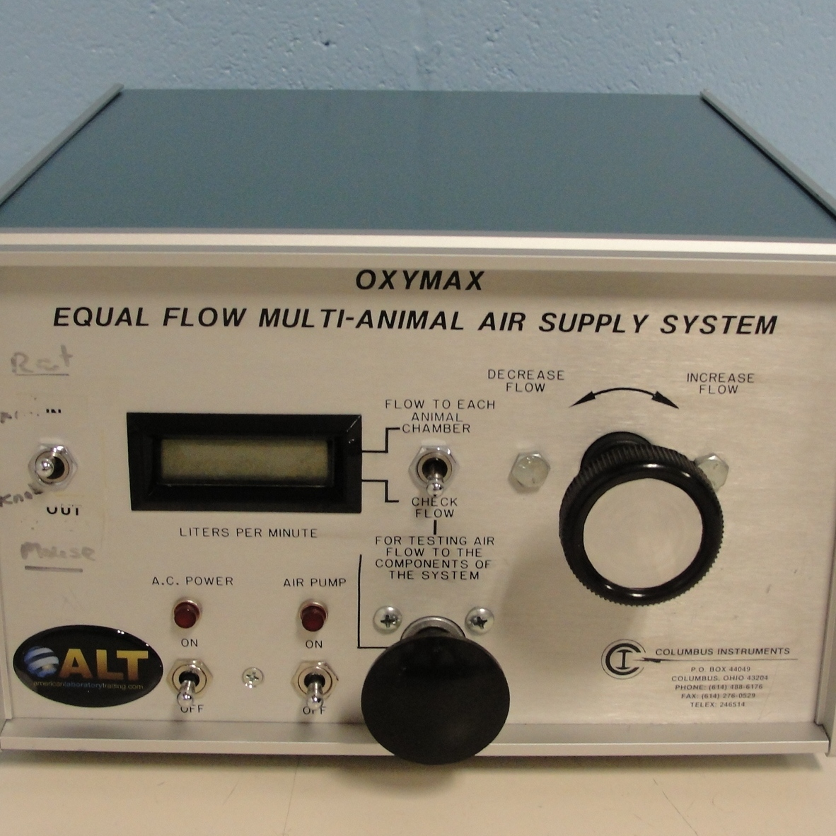 OXYMAX Equal Flow Multi-Animal Air Supply System Name