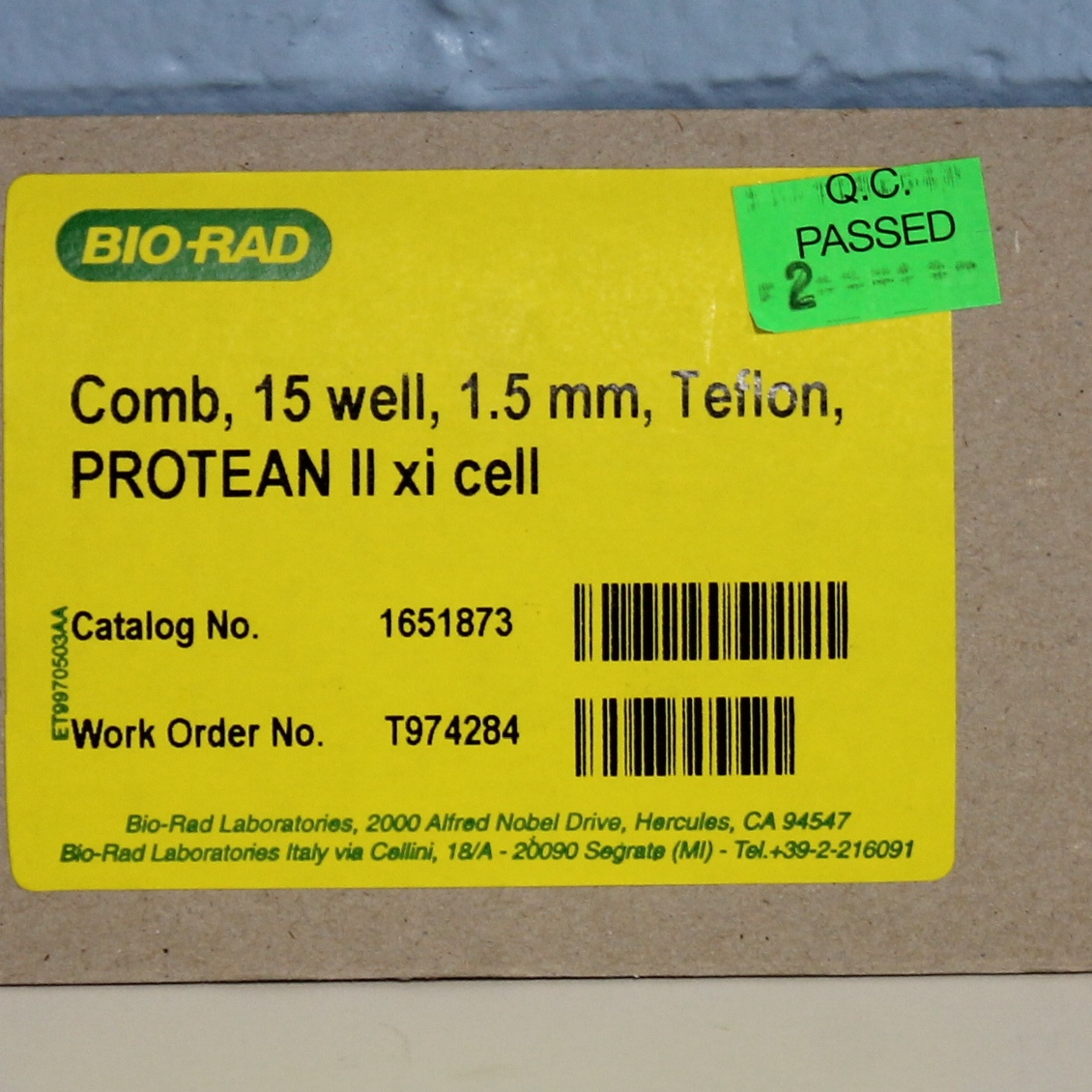 Bio-Rad PROTEAN II xi Comb CAT No. 1651873;15-well, 1.5 mm, Teflon Image