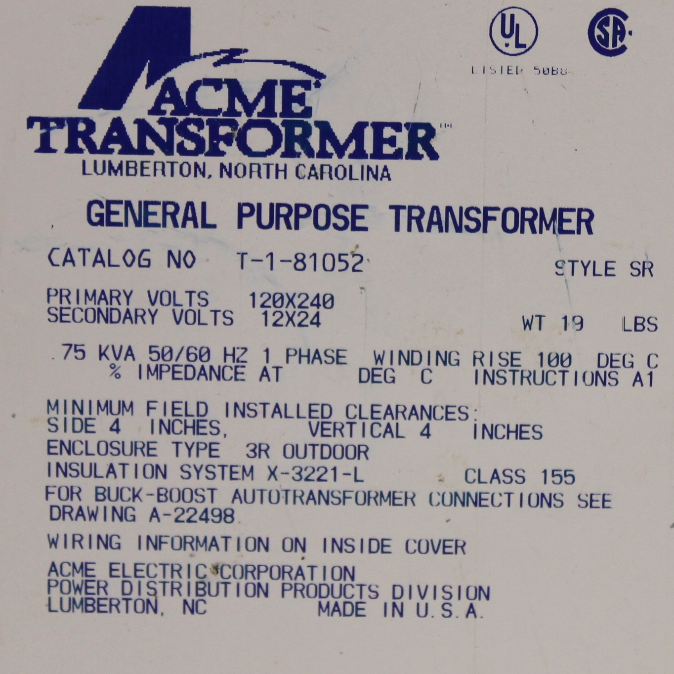 Acme T-1-81052 Buck-Boost Transformer Image