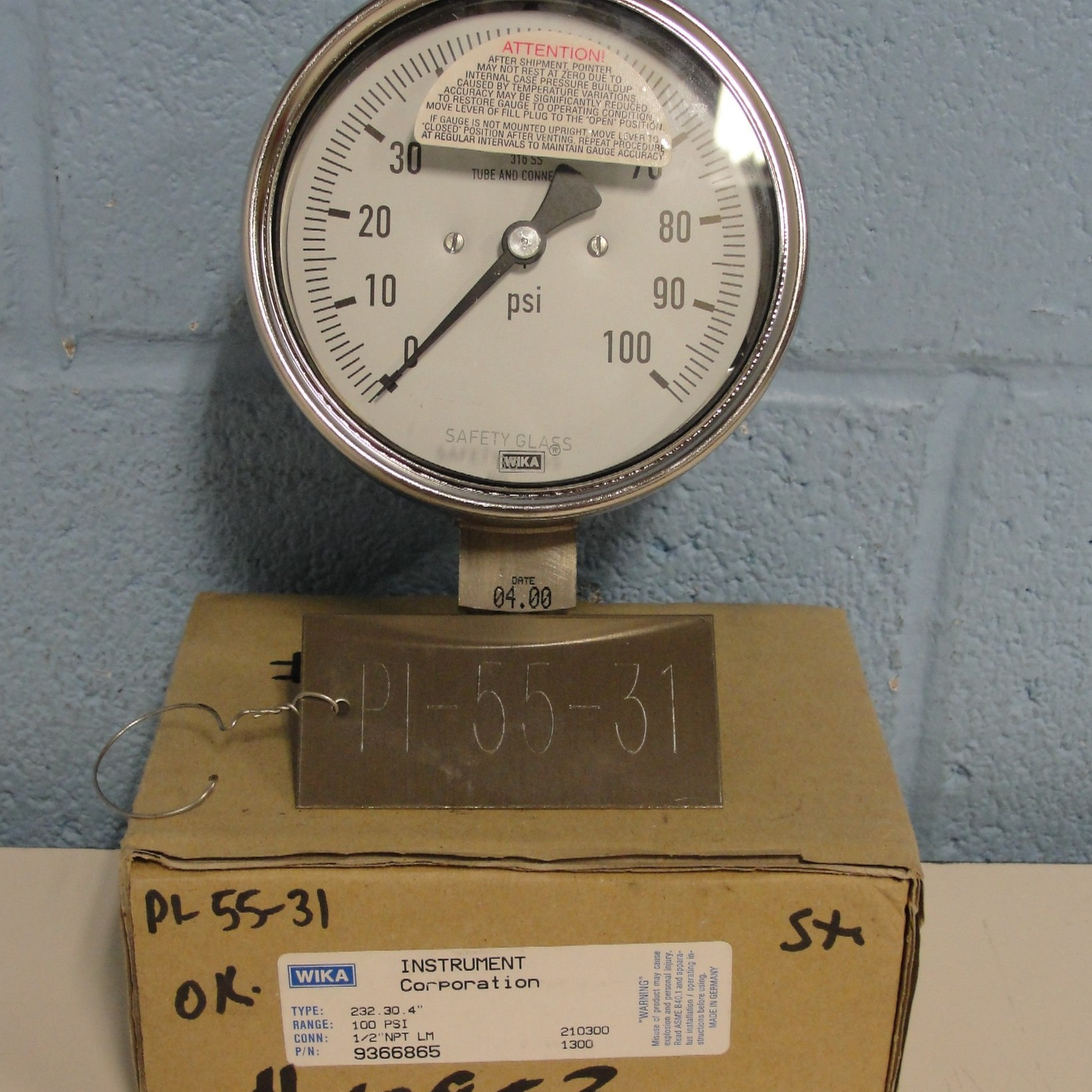 Wika Instrument Corporation Type 232.30 100PSI Gauge Image