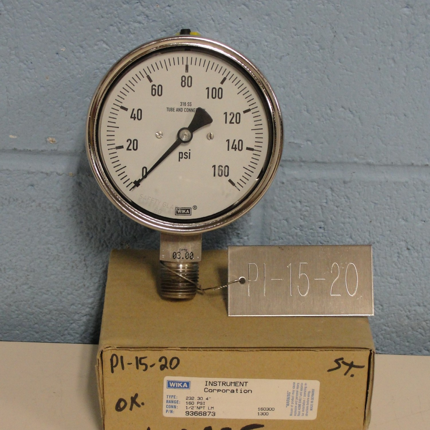 Wika Instrument Corporation Type 232.30 160PSI Gauge Image